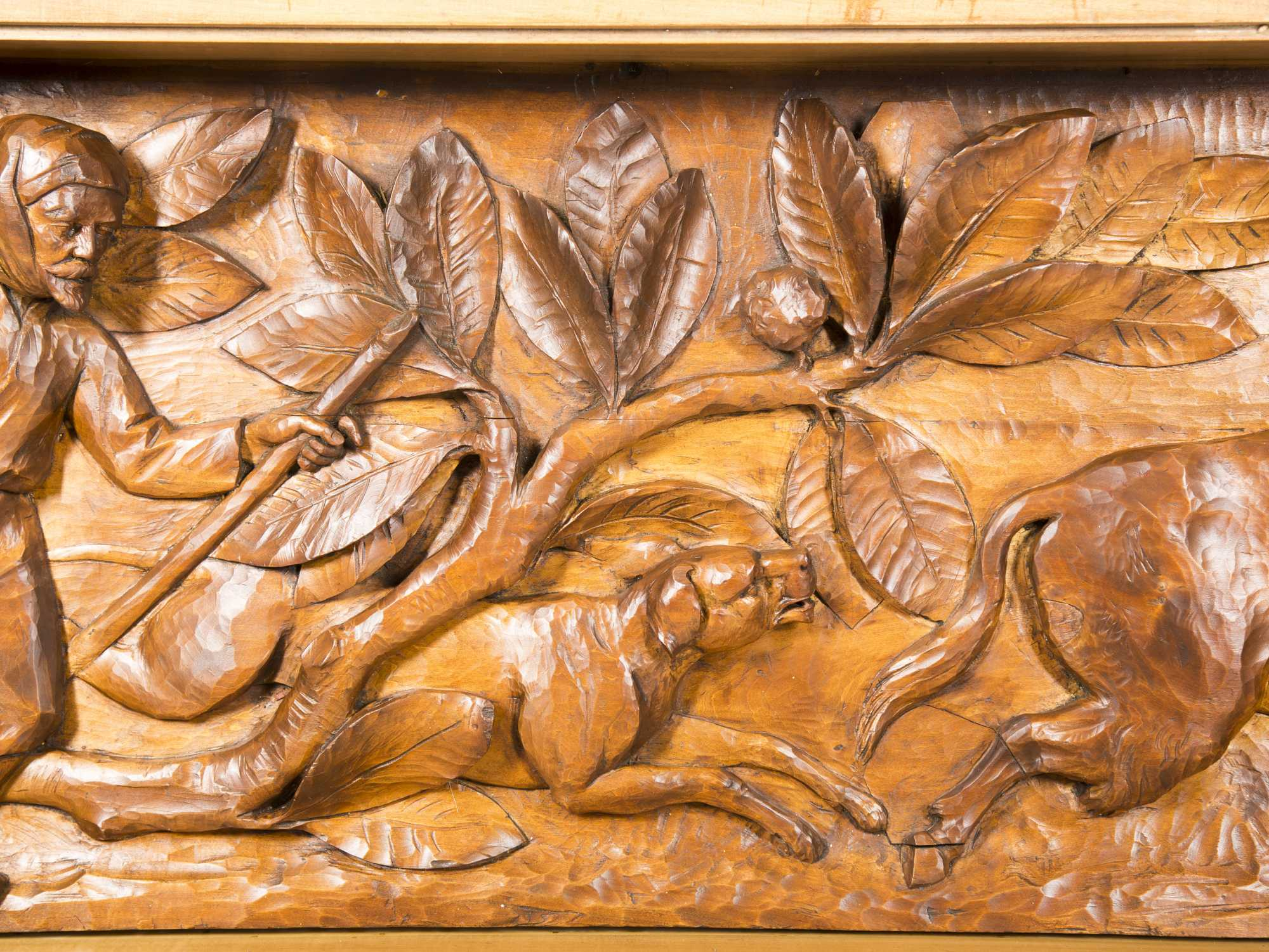 Unknown wood bas relief carving