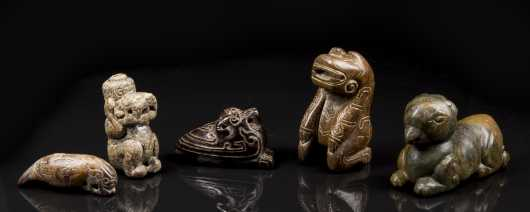 Lot of Five Asian Hardstone Animal Figures