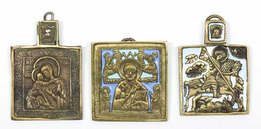 Three Small Russian Traveler�s Icons