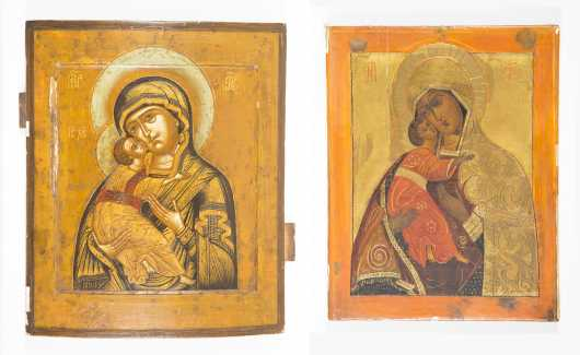 Two Wooden Russian Icons of the Vladimir Mother of God