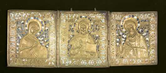 A Large Russian Folding Icon