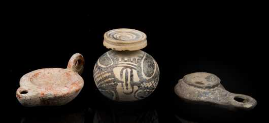 Two Roman Style Oil Lamps and a Small Near-Eastern Juglet