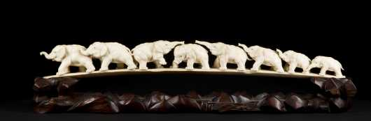 Signed Chinese Export Carved Ivory Tusk