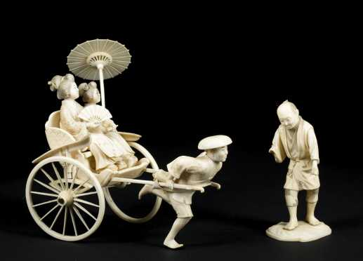 Chinese Export Signed Ivory Rickshaw Carving