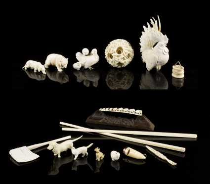 Lot of Chinese Export Signed Ivory Carvings