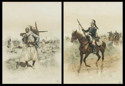 2 Jean Baptiste Edovard Detaille Lithographs