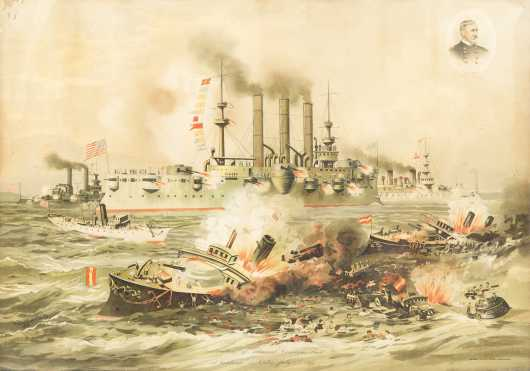 Destruction of Admirals Cervera's Fleet at Santiago De Cuba on July 3rd, 1898
