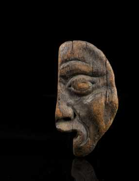 A Fine and Rare Haida or Tlingit Shaman's Half-Maskette