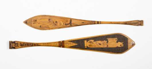 Two Northwest Coast Miniature Decorated Paddles
