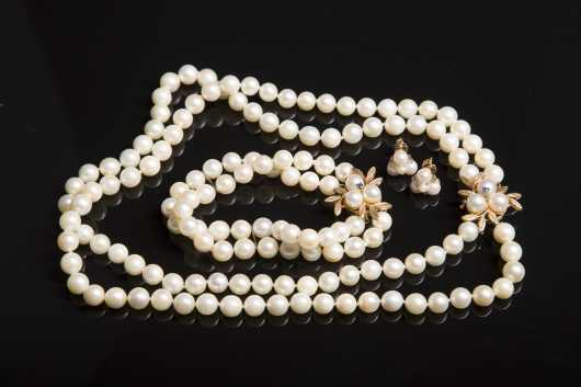 Cultured Pearl and 14kt. Gold Pearl Set