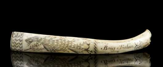 Scrimshaw Decorated Animal Bone Rib