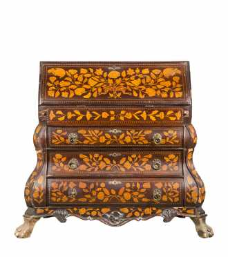 Dutch Mahogany Veneered and Marquetry Inlaid Desk
