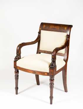 Dutch Marquetry Inlaid Armchair