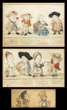 18thC German and English Caricature Color Prints