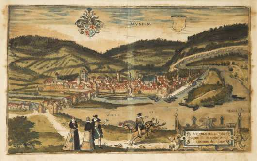 18thC Colored Print of the German City of Munden