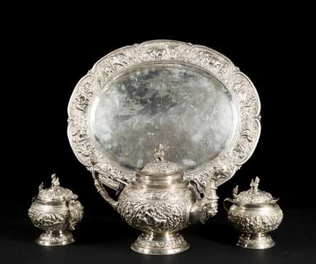 Indian Four Piece Silver Tea Service