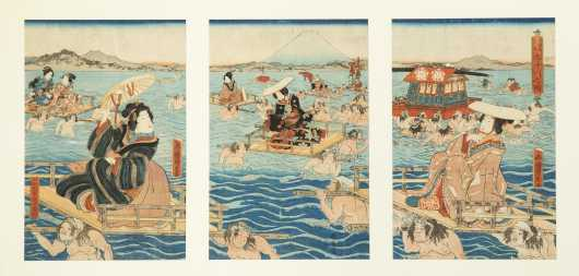 Japanese Triptych Color Woodblock Prints by Kuniyoshi