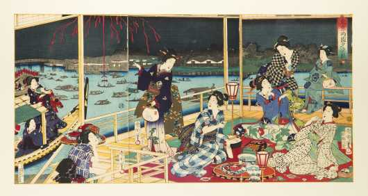 Japanese Triptych Color Woodblock Prints by Kunichika
