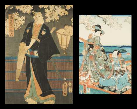 Two Japanese Color Woodblock Prints by Toyokuni lll (Kunisada)