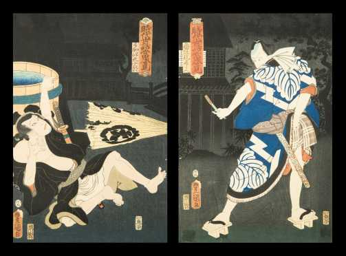 Two Japanese Woodblock Prints by Toyokuni III(Kunisada)
