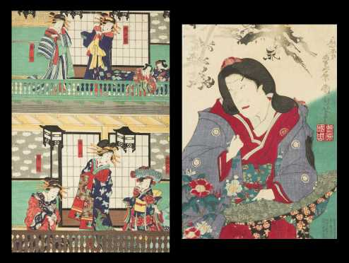 Two Japanese Color Block Prints by Kunichika and unsigned
