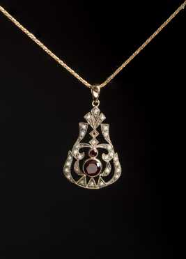 Yellow Gold, Garnet, and Seed Pearl Pendant