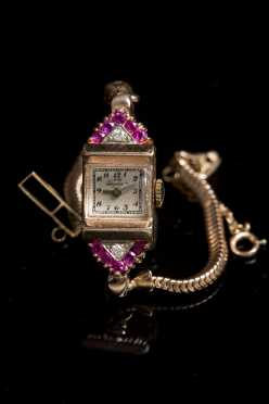 14kt. Rose Gold, Ruby, and Diamond Watch