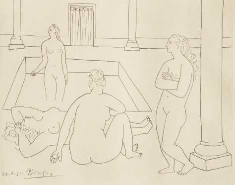"After Pablo Picasso. Etching, ""Femmes Au Bain"""