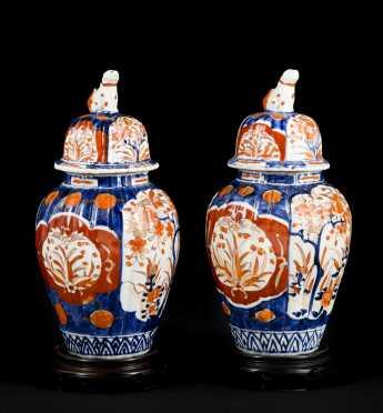 Pair of Japanese Imari Covered Jars