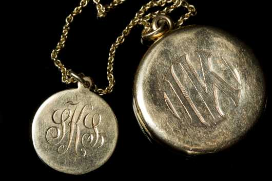 Locket and Monogram in 14kt. Gold