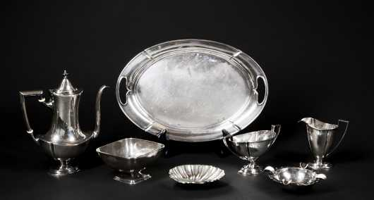 Sterling Silver Tea Set, Tray and Bowls