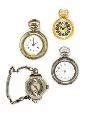 Lot of Three Pocket Watches and One Wrist Watch