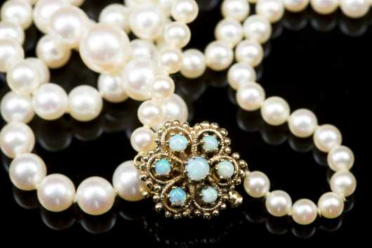 14kt. Gold and Opal Clasped Strand of Graduated Pearls