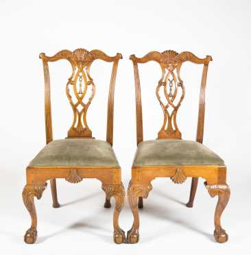 Pair of Walnut Philadelphia Style Side Chairs