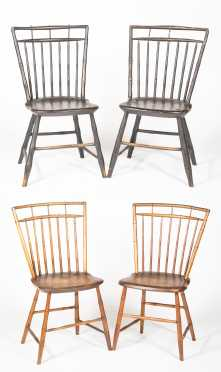 Two Pair of Birdcage Windsor Side Chairs