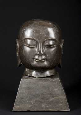 Chinese Cast Bronze Head of a Arhat of a Buddhist Faith