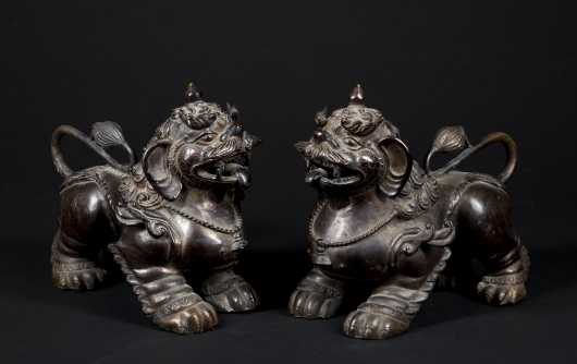 Pair of Chinese Hollow Cast Foo Dogs