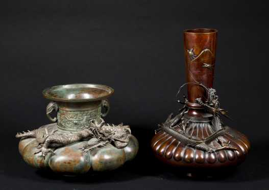 Two Chinese Bronze Vases
