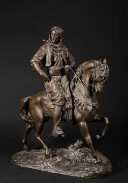 Patinated Metal Arab Horseman
