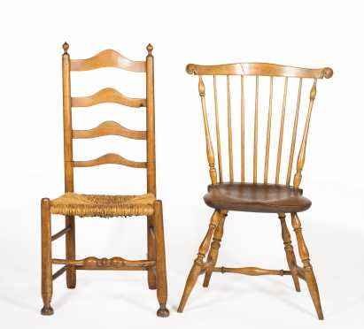 A Fanback Windsor Side Chair, and a PA Four Slat Ladder Back Side Chair