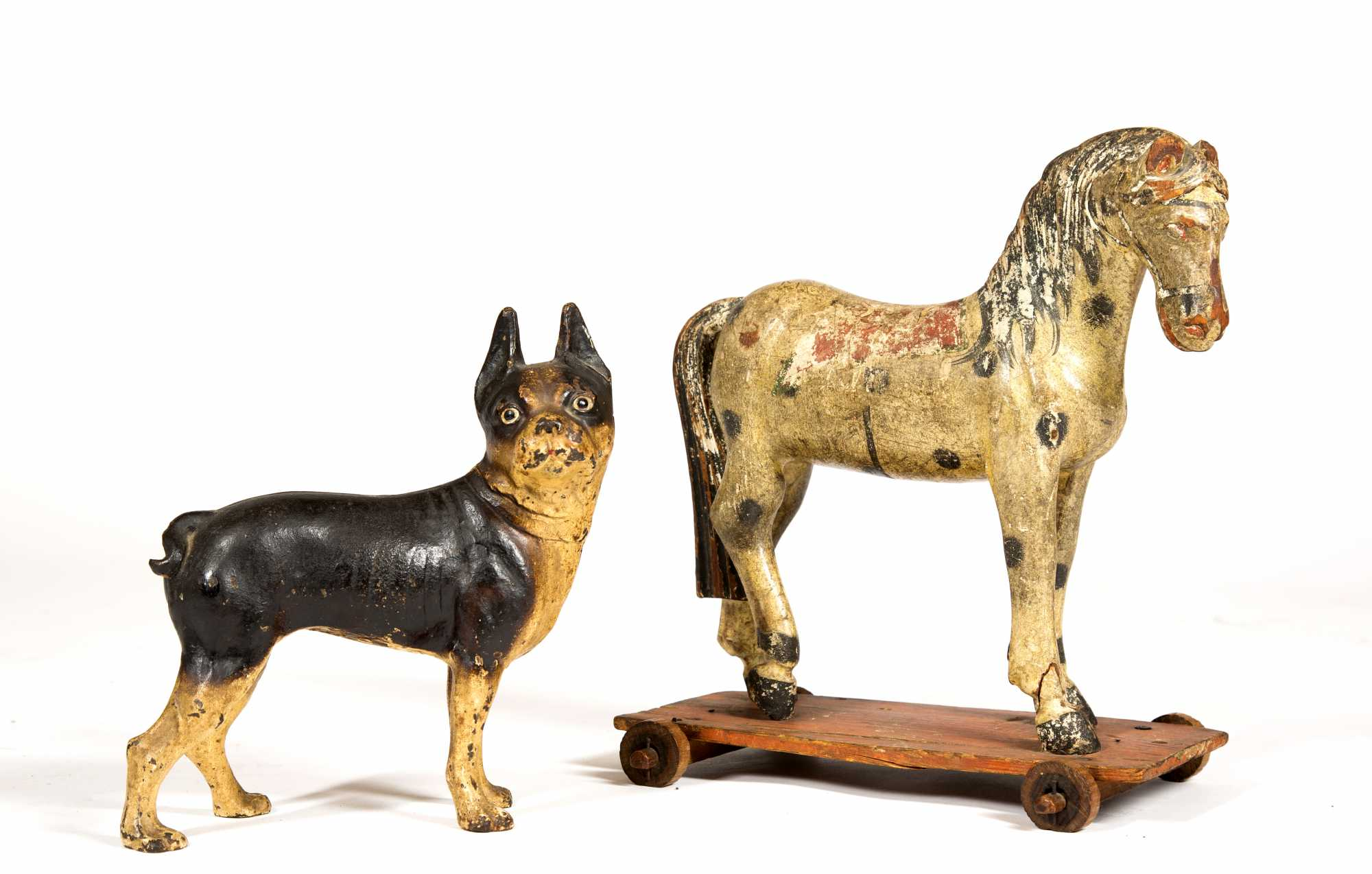 Primitive Horse Pull Toy And Cast Iron Dog Door Stop