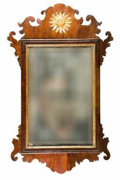 Mahogany and Mahogany Veneered Chippendale Mirror