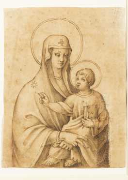 Italian School Drawing, Madonna and Child