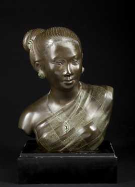 Bronze Bust of Burmese Female