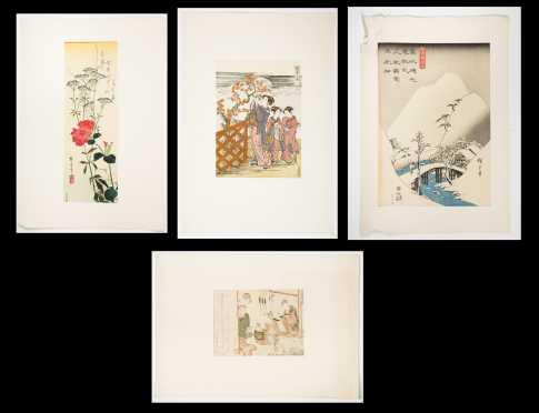 Four Japanese Color Block Prints, Shimsai (1789-1817)