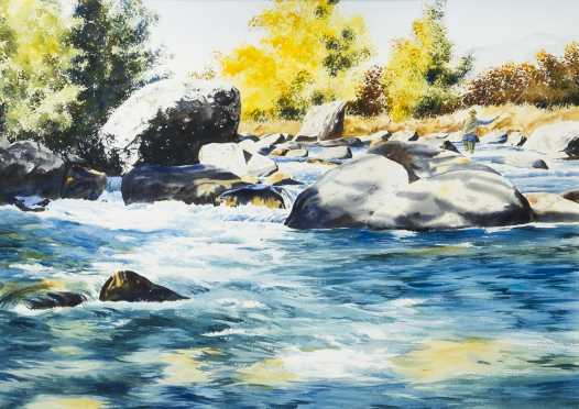 Watercolor Painting of a Fly Fisherman Upstream