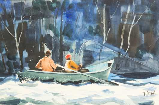 Watercolor Painting of 2 Men in a Rowboat Fly Fishing