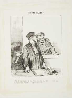 """Honore Daumier Lithograph """"Viola le ministrere public..."""" (1846)"""