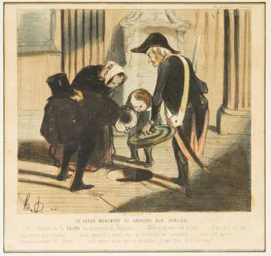 Honore Daumier, France (1808-1879) Colored Lithograph
