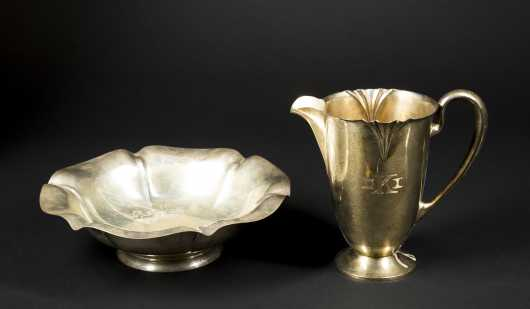 Sterling Silver Shaped Bowl and Water Pitcher